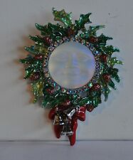 Kirks Folly Seaview Glass Moon Christmas Holly Wreath Pendant Pin In St