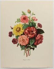 Bouquet de Fleurs BOTANICAL FLOWER Illustration Lithograph VINTAGE French #697