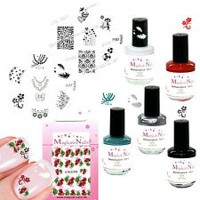 Stamping 5 Lacke, Schablone m77, m83 + Sticker, Anja Beck Magical-Nails