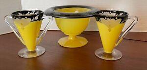 Rare Antique  Art Deco 1930's Indiana Glass Etched Set Sugar & Creamer & Bowl