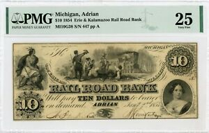 1854 $10 The Erie and Kalamazoo Rail Road Bank - Adrian, MICHIGAN Note PMG VF 25