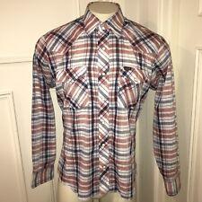 Vtg 70s 80s Plaid WRANGLER Mens LARGE Cowboy Rockabilly Rodeo Western Shirt THIN