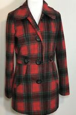 Womens Joujou Red Black Gray Plaid Wool Blend Pea Coat Size M