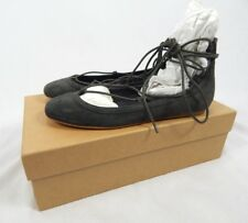 Joie Graphite Grey Jenessa Lace Up Ballet Flats, Size Eur 36 (floor sample)