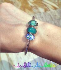 bracciale rigido, bangle, beads, perle, vetro, verde, pavone, regalo