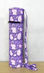 Purple Floral Indian Hand Block Yoga Mat Carrier Gym Bags With Shoulder Strap UK
