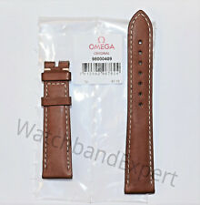 Original Omega Speedmaster 19mm Brown Genuine Leather Watch Band Strap #98000409