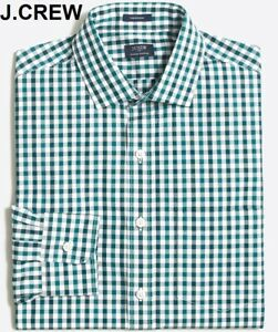 J.CREW dress shirt button front teal white gingham check plaid down spread S NWT