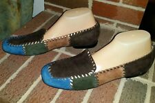 ROS HOMMERSON MULTICOLORED LEATHER SLIP ON LOAFERS WOMENS SIZE 12N