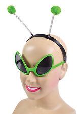 GREEN ALIEN Set occhiali e fascia per capelli adulto Fancy Dress Party Accessorio Halloween