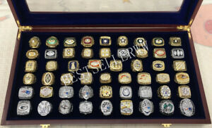 53PCS 1966 Packers to 2018 Patriots TEAM ring Set With Wooden Box Fan Men Gift
