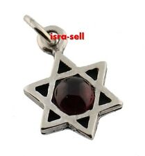 925 Sterling Silver & Garnet STAR OF DAVID PENDANT - Made in Israel - Gift