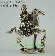 Old chinese silver Wealth Yuanbao Ruyi Ride Horse Mammon Jambhala God statue