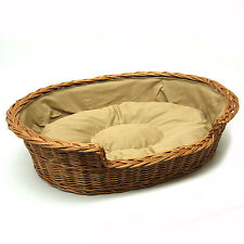 Medium Large Wicker Dog Basket with cushion FREE DELIVERY