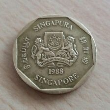 Singapore 2nd Series $1 Dollar Orchid Coin of Year 1988, A FINE & NICE Coin