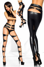 New Wet Look Gothic Clubbing Leggings / Stockings With Silver Metal Rings 6-12