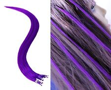 "18"" Purple Micro Loop Ring Human Hair Extensions 10 Strands"
