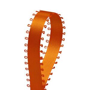 Orange Satin double face picot Ribbon Feather Edge 3/8 inch 50 Yards