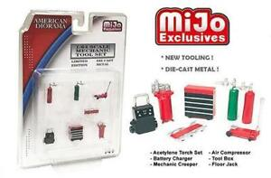 American Diorama 1:64 Mechanic Tool 7 Pieces Set Diecast Metal Red Limited