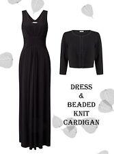 's 18 Jacques Vert Kate Maxi Dress & Beaded Collar Knit Bolero Black