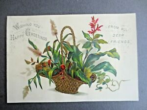 Victorian Greetings Card Basket of Flowers & Foliage Chromo Litho 1880s
