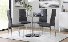 Orbit & Renzo Round Glass & Chrome Dining Table And 4 Chairs Set (Grey)