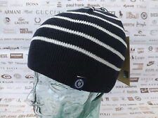 HENRI LLOYD Fino Acanalado Beanie unham a rayas con el logotipo Sombrero Azul Marino Algodón cráneo casquillo BNWT