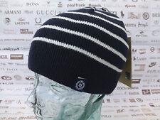 HENRI LLOYD Fine Ribbed Beanie UNHAM Striped Logo Hat Navy Cotton Skull Cap BNWT