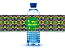 Mardi Gras Water Bottle Labels  - 25 labels- Water Resistant