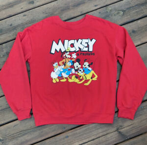 Disney Mickey and Friends Sweatshirt, red, size small, juniors