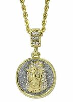 """Round Jesus Piece Cz Pendant 14k Gold Plated w/ 24"""" Rope Chain Hip Hop"""