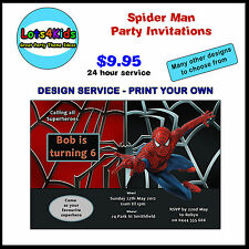 SPIDER MAN SUPERHERO PERSONALISED BIRTHDAY PARTY INVITATIONS PRINT YOUR OWN