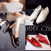 Women's Pointed Toe Patent Leather Lace Up Slip On Flat Casual Loafer  Shoes NEW