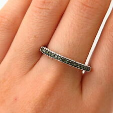 925 Sterling Silver Real Blue Diamond Stackable Ring Size 9