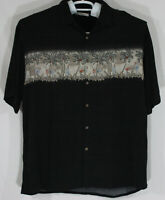 Campia Moda Mens XXL 2XL Black Button Up Hawaiian Shirt Palm Trees Cocktails G3