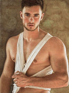 ORIGINAL Artwork Male Drawing Painting Gay Interest MCicconneT~ PART OF YOU
