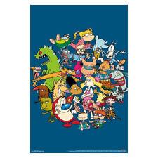 Nicktoons Nickelodeon Cartoon Characters Poster Blue