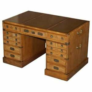 ANTIQUE 1880 DOUBLE SIDED 15 DRAWER 2 CUPBOARD BURR ELM MILITARY CAMPAIGN DESK