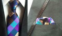 Tie Pocket Square Purple Blue Brown Hanky Set or Individual 100% Silk Wedding