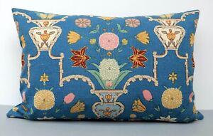 Vintage 1940s Sanderson Linen Cushion Cover Urn & Flowers Teal & Gold 2 Sizes
