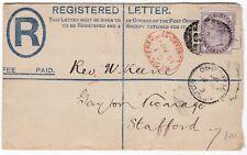 # 1893 POSTAL STATIONERY REGISTERED ENVELOPE STAFFORD STATION REGd OVAL ARRIVAL