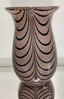 Lg. Murano Art Glass Vase Confetti Pulled Feather Design Multi colour Sculpture