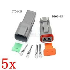 5x Deutsch DT04-2P/DT06-2S Sealed Waterproof Electrical Connector Plug Kits New
