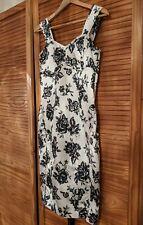 Next Black & White Corset Style Floral Dress, Size 14, Wedding