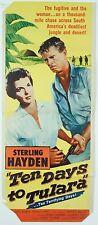 Vintage Original 1958 Ten Days to Tulara United Artists Adventure Movie Poster