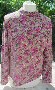 Ladies Vintage Pink-Purple & Tan Coloured Rose Pattern Stretch Top Size L