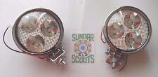 """2  12v  3.5"""" SPOT LIGHTS 3 LED BULBS.CLEAR LENS CHROMED CASING.LAMBRETTA/VESPA"""