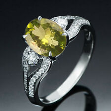 14KT Solid White Gold Oval Cut 1.45CT Natural Peridot EGL Certified Diamond Ring
