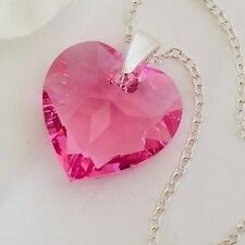 925 Silver Heart Necklace Pendant Jewellery Rose Made With Swarovski® Crystals
