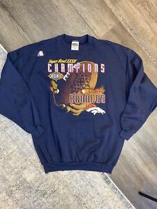 Vintage 90s Denver Broncos Crewneck Sweatshirt Size XL Blue Super Bowl NEW